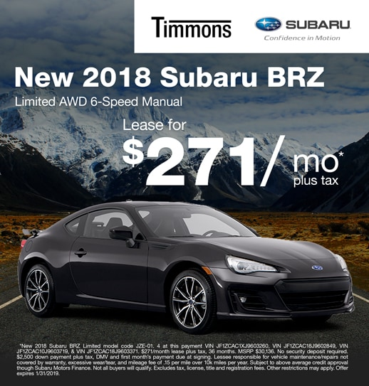 2019 Subaru BRZ Limited Manual Available for $271 per month at Timmons Subaru