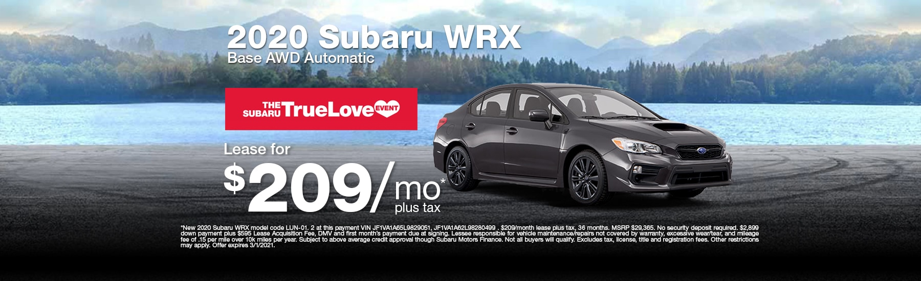 Special Lease offer on new WRX at Timmons Subaru of Long Beach