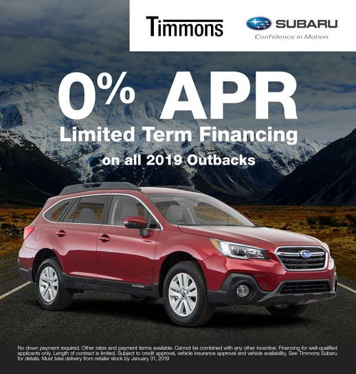 Special 0% APR finance option available on all 2019 Subaru Outbacks at Timmons Subaru