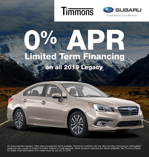 Special 0% APR finance option available on all 2019 Subaru Legacys at Timmons Subaru