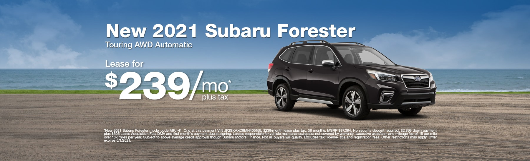 Special Lease offer on new Forester at Timmons Subaru of Long Beach