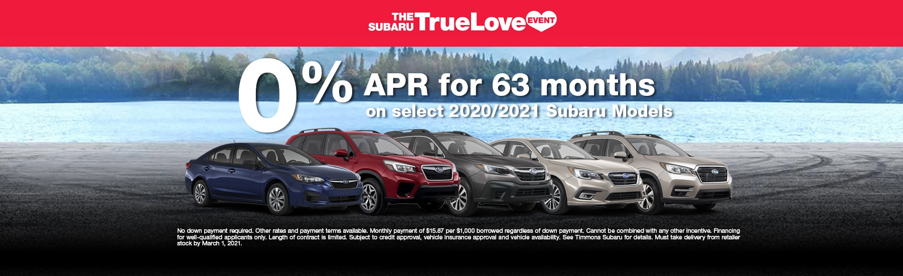 Special APR offer at Timmons Subaru Long Beach