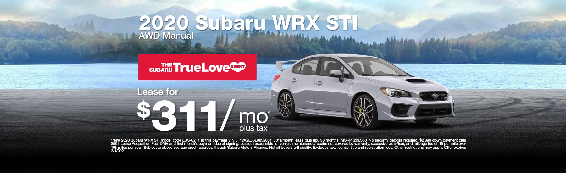 Special Lease offer on new WRX STI at Timmons Subaru of Long Beach