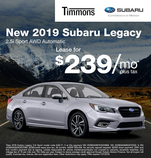 2019 Subaru Legacy 2.5i Sport Available for $239 per month at Timmons Subaru