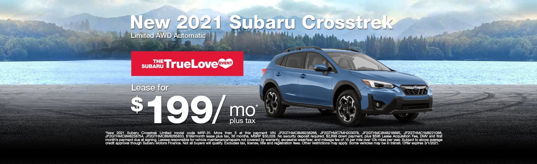 Special Lease offer on new Crosstrek at Timmons Subaru of Long Beach