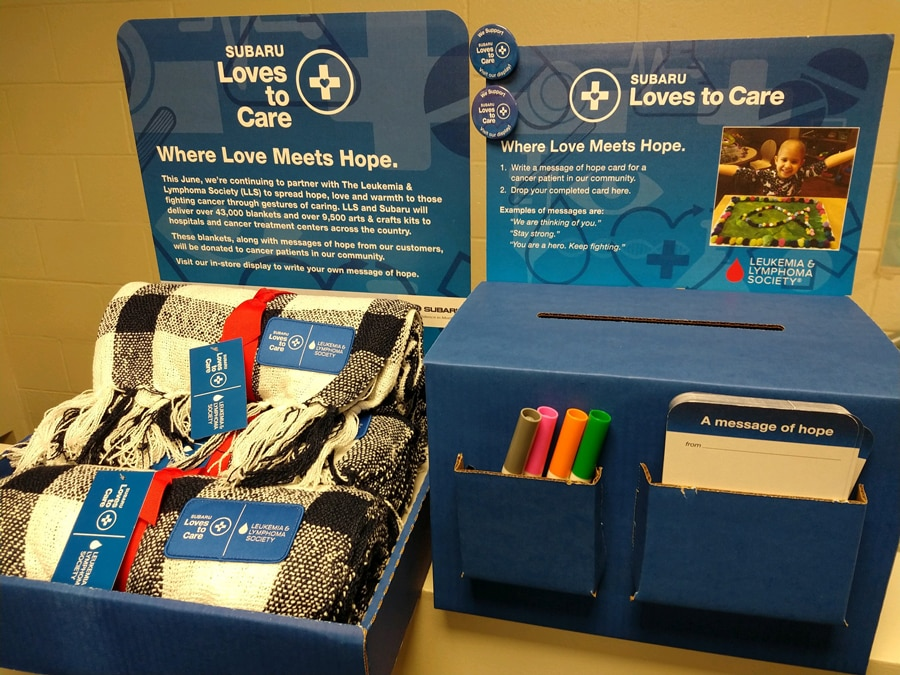 Timmons Subaru of Long Beach collects donations and messages of hope for the Leukemia and Lymphoma Society