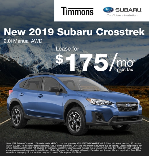 2019 Subaru Crosstrek 2.0i Manual Available for $175 per month at Timmons Subaru