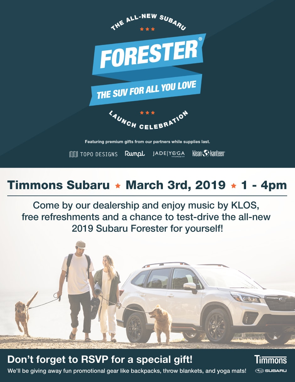 Come join us at Timmons Subaru of Long Beach on March 3 for The Forester Launch Celebration Event. Family Fun!