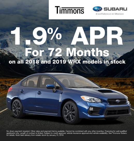 Special 1.9% APR for 72 Months finance option available on all 2018 and 2019 Subaru WRX models at Timmons Subaru