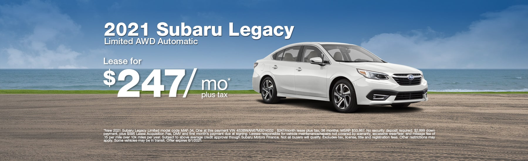 Special Lease offer on new Legacy Limited at Timmons Subaru of Long Beach