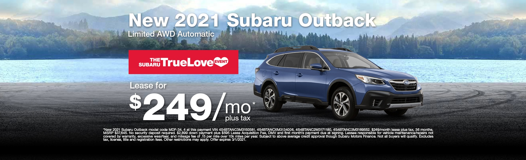 Special Lease offer on new Outback at Timmons Subaru of Long Beach