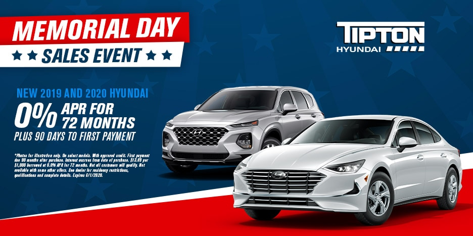 2019 & 2020 Hyundai 0% APR For 72 Months