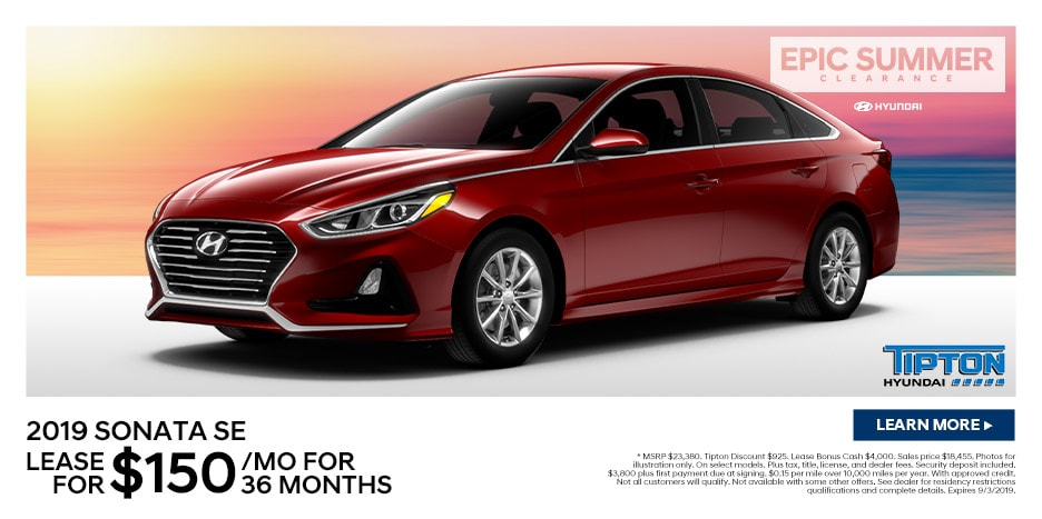 2019 Sonata SE Lease For $150/mo