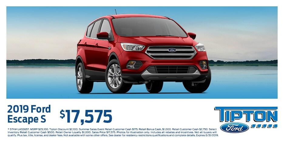 2019 Ford Escape S $17,575