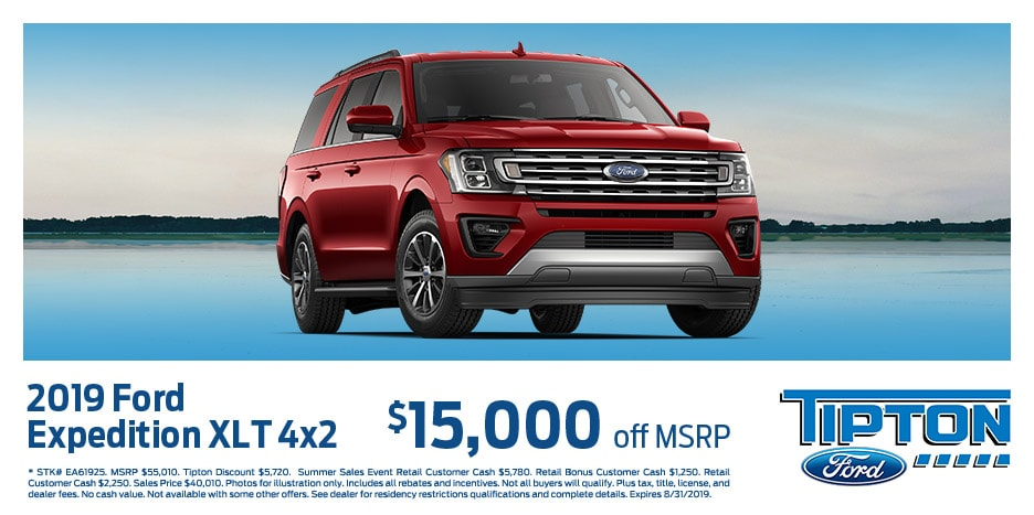 2019 Ford Expedition XLT 4x2 $15,000 off MSRP