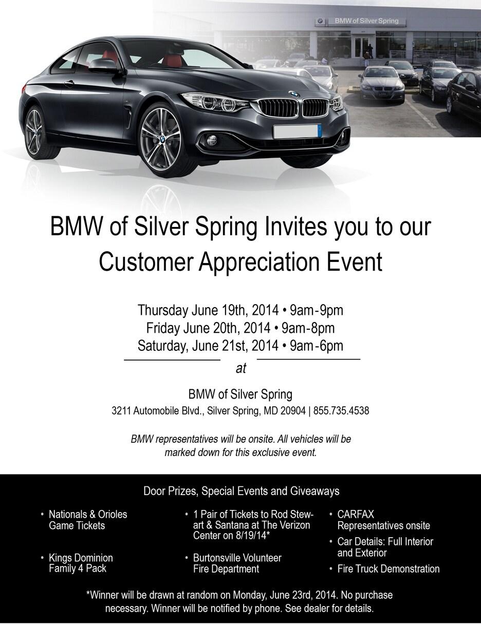 Customer Appreciation Event Bmw Of Silver Spring