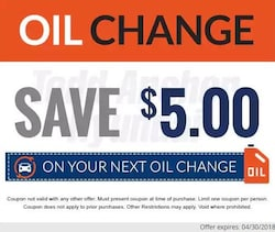 Oil Change Save $5.00