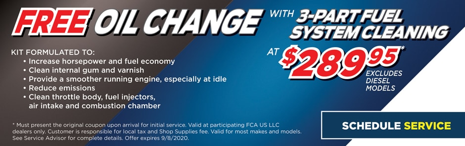 Free Oil Change with 3-Part Fuel System Cleaning