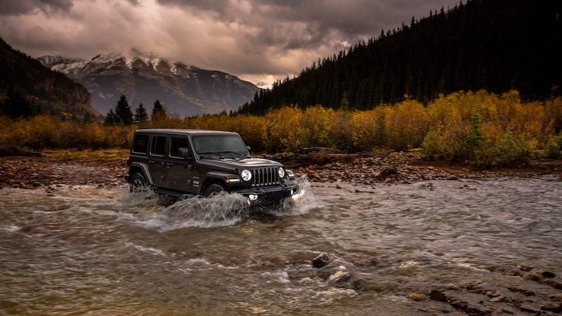 Jeep Wrangler fording water