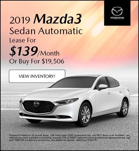 2019 Mazda Mazda3 Sedan Automatic Lease - September