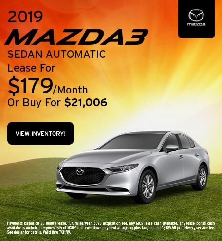 2019 Mazda3 Lease - July