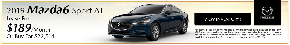 2019 Mazda Mazda6 Sport AT Lease - August