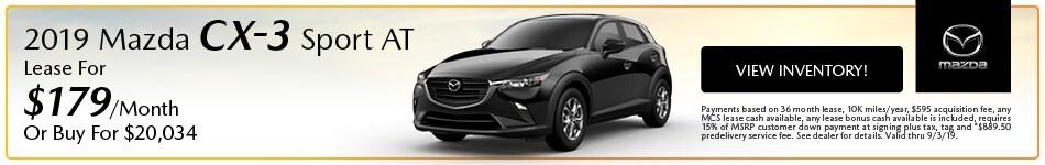 2019 Mazda Mazda CX-3 Sport AT Lease - August