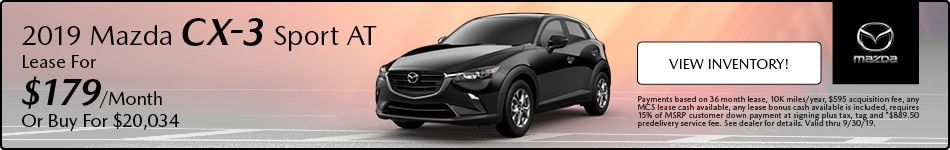 2019 Mazda CX-3 Sport AT Lease - September