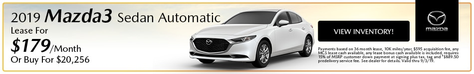 2019 Mazda Mazda3 Sedan Automatic Lease - August