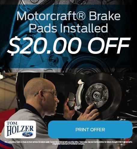 Updated January Motorcraft® Brake Pads Installed  $20.00 OFF