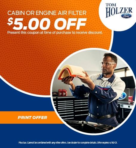 April CABIN OR ENGINE AIR FILTER