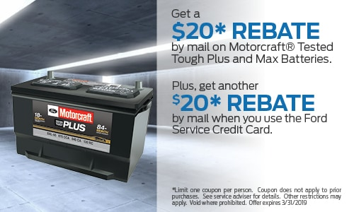 Get a $20 rebate by mail on Motorcraft Tested tough Batteries