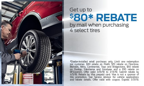 Get up to $80 Rebate by mail when purchasing 4 select tires
