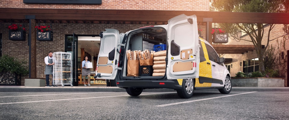 2019 Ford Transit being loaded with bread