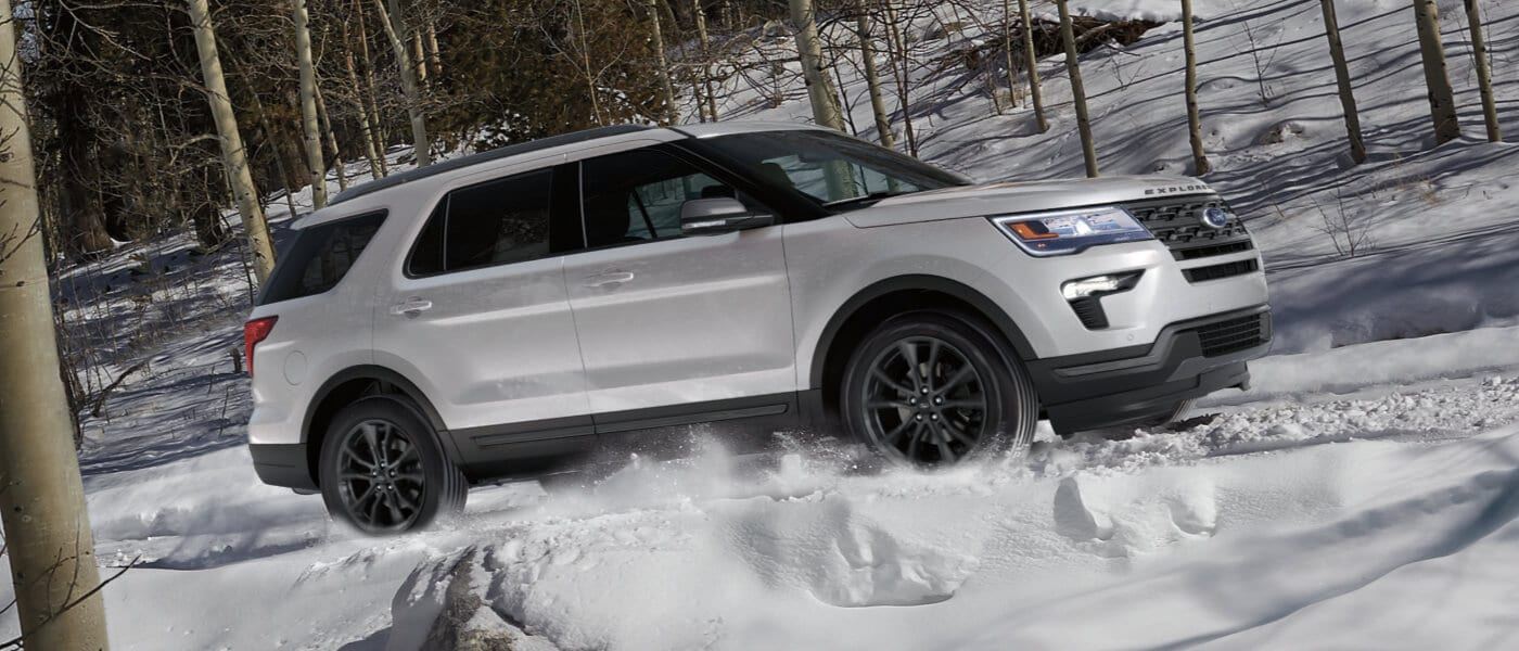 2019 Ford Explorer driving through snow