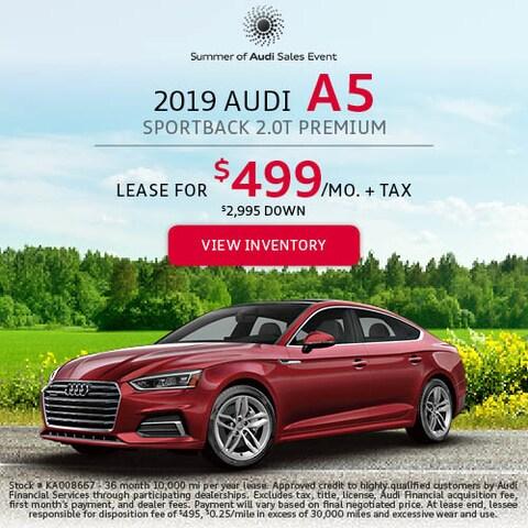 2019 Audi A5 Sportback 2.0T Premium - Lease