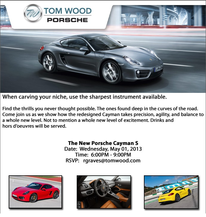 tom wood porsche is hosting a vip reveal event for the 2014 cayman