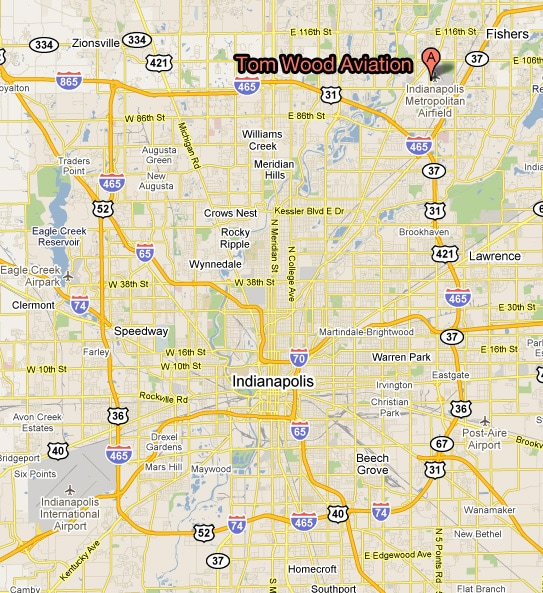 Location and Directions | Tom Wood Aviation on indianapolis airport area map, indianapolis real estate area map, parking downtown indianapolis indiana map, lucas oil stadium area map, long beach aquarium area map,