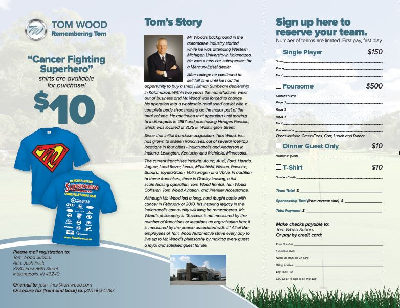 Register Now For The Tom Wood Subaru Charity Golf Outing