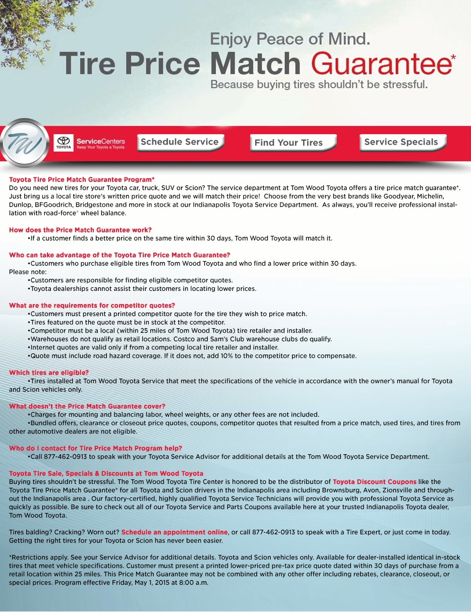 Toyota Tire Price Match Guarantee Program*Do You Need New Tires For Your  Toyota Car