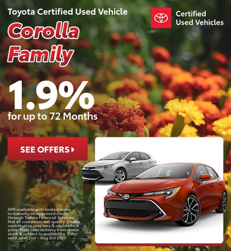 Toyota Certified Used Vehicle Corolla Family