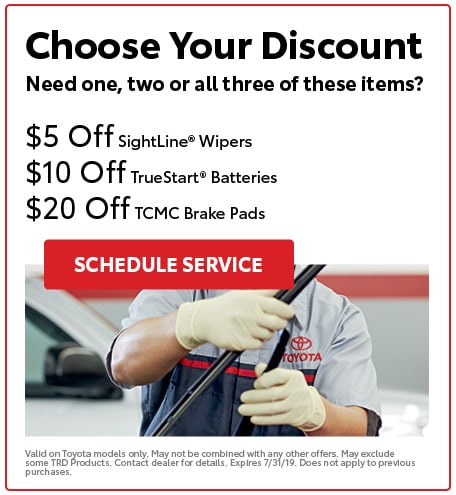 $5 Off SightLine Wipers $10 Off TrueStart Batteries $20 Off TCMC Brake Pads