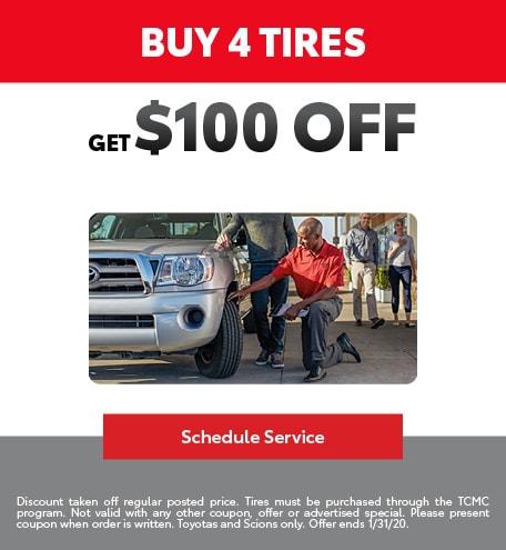 Buy 4 Tires get $100 off