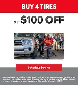 Buy a set of tires get $100 Off