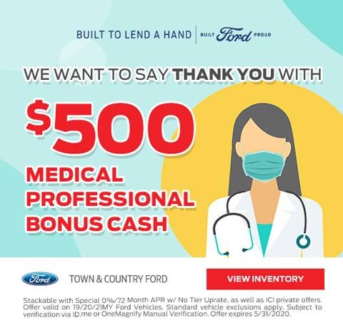 $500 Bonus Cash for Medical Professionals