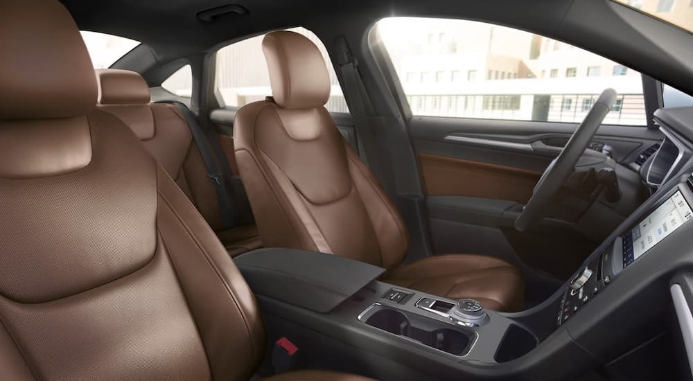 A close up shows the brown leather interior in a 2020 Ford Fusion