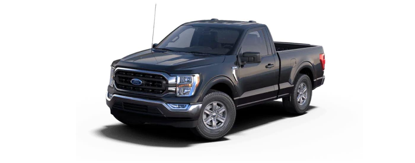 A black 2021 Ford F-150 XLT is angled left on a white background.