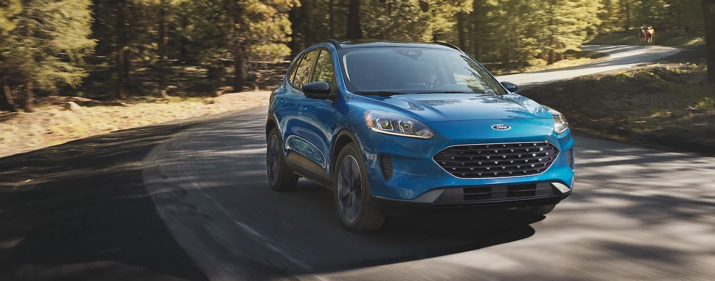 A blue 2021 Ford Escape is driving around a winding road in the woods.
