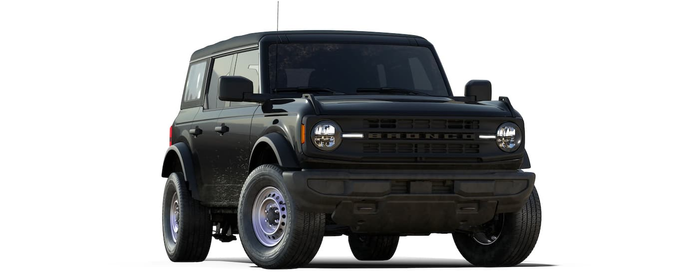 A black 2021 Ford Bronco 4-door Base is angled to the right.