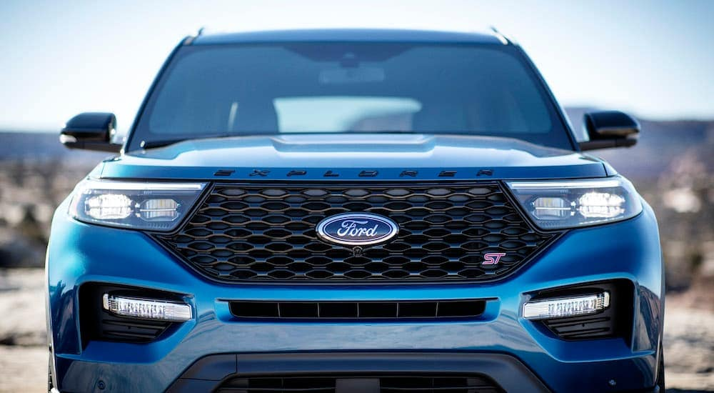 A blue 2019 Ford Explorer ST is shown from the front after leaving a ford dealer near you.